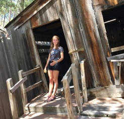 Our tour guide in front of the cabin.