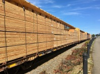 lumber on train