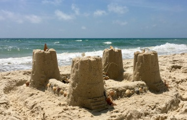 A deserted sandcastle we walked by.