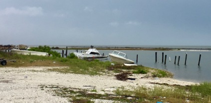 Many shipwrecks from the hurricane are still evident.